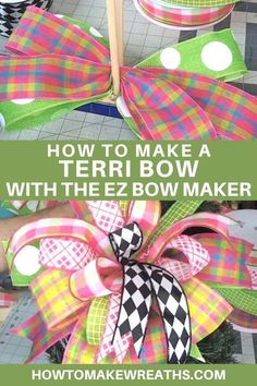Expand your skills! This tutorial uses the EZ Bow Maker and shows you how to make a Terri Bow you'll love in less than 10 minutes! Diy Bow, Diy Ribbon, Ribbon Crafts, Ribbon Bows, Making Bows For Wreaths, How To Make Wreaths, How To Make Bows, Wreath Making, Wreath Crafts