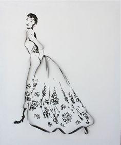 "1956 givenchy dress | Fashion Sketch for ""Sabrina"""