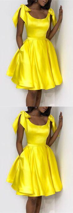 Elegant Bow Shoulders Ruffles Satin Homecoming Dresses M5102 f1dc21144