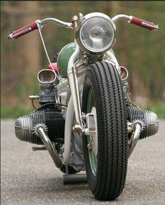 BMW-Harley hybrid bobber - love the vintage Stromberg 2 bbl carbs Bobber Bmw, Motos Bobber, Motos Bmw, Bobber Bikes, Bobber Motorcycle, Bobber Chopper, Moto Bike, Cool Motorcycles, Vintage Motorcycles