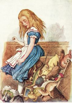 "Alice's Adventures in Wonderland - John Tenniel ""Alice's Evidence"" - Alice upsetting the Jurymen"