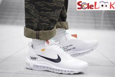 This Off-White x Air Max 97 come in a white, cone and ice blue colorway. Sporting a reconstructed translucent upper, featuring a semi-revealing material to tie-in with the theme. Air Max 97, Nike Air Max, Air Max Sneakers, Sneakers Nike, Off White Virgil Abloh, Casual Shoes, Ice, Celebrities, Fashion
