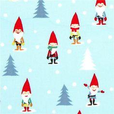 light blue Christmas fabric mini gnomes by Michael Miller