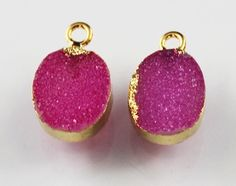 Zj-1122 Gorgeous Pink Sugar Druzy 24k Gold Plated Connector Making Jewelry #Handmade #Connector