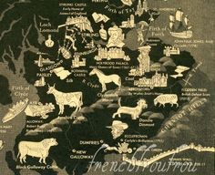 illustrated map of Scotland 1938.