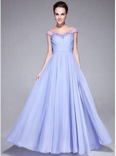 Vestidos princesa/ Formato A Sem o ombro Chá comprimento De chiffon Tule Vestido de festa com Pregueado Bordado (017041153) - JJsHouse