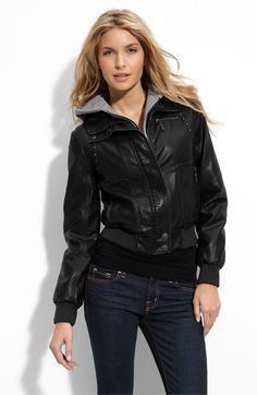 Miss Sixty Studded Faux Leather Bomber Jacket available at #Nordstrom