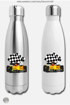 * Yellow Race Car Insulated Stainless Steel Water Bottle by #Gravityx9 at Spreadshirt * Race Car and checkered flag is a real winner! * Nice gift for race fans. * 100% Stainless Steel | Volume: 17 fl. Oz. * This design is available on coffee mugs, scarves, home decor and more. * Racing car water bottle * sports water bottle * auto racing water bottle * Rehydrate * water bottle * workout supplies * #waterbottle #sportsbottle #drinkware #rehydrate #autoracing #racecar #checkeredflag #racing…