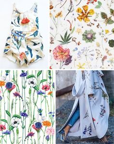 Botanical florals print inspiration | Print designs inspiration moodboard from botanical illustrations | Botanical floral print designs