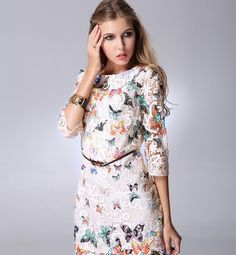 $20 New Arrivals Women Girl Lace 1/2 Sleeve Pencil Dress Butterfly Printed Casual Dress Celebrity Style Plus Size Dress for Women, $13.11 | DHgate.com