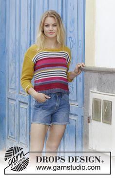 Knitting Patterns Jumper Knitted jumper with stripes. Size: S - XXXL Piece is knitted in DROPS Paris. Baby Knitting Patterns, Jumper Patterns, Drops Patterns, Baby Patterns, Knitting Tutorials, Crochet Patterns, Drops Design, Finger Knitting, Free Knitting