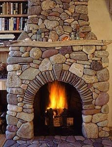 Love the flat stone arch in this fireplace.