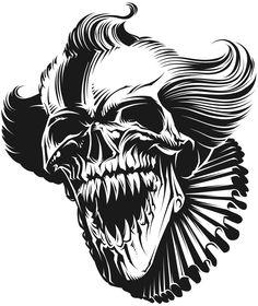 Halloween Coloring For Adults Evil Skull Tattoo, Tattoos Skull, Skull Tattoo Design, Scary Coloring Pages, Skull Coloring Pages, Skull Stencil, Beautiful Dark Art, Skull Artwork, Scary Clowns