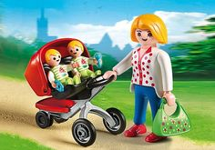 Playmobil Mother with Twin Stroller. Available in store at Giddy Goat Toys, Didsbury, Manchester, or on our online store. Playmobil France, Playmobil Toys, Twin Babies, Twins, Goat Toys, Twin Strollers, 2 Baby, Hot Dog Stand, Farm Toys