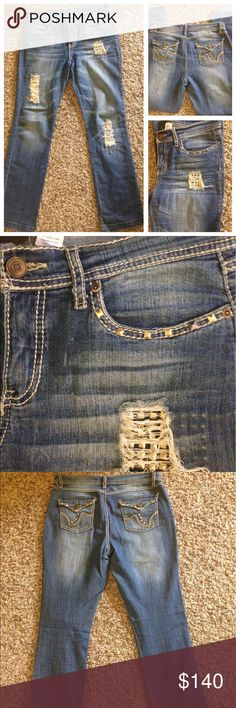 Cache Studded Jeans Pre-owned Cache Jeans With Gold Studs, Size 8.       PLEASE READ ALL BEFORE BUYING  DESCRIPTION COLORS IN PICTURES MAY APPEAR DIFFERENT THAN IN PERSON Please look at all pictures and use the zoom. They are the best way to see details and any wear ALL USED CLOTHING HAVE BEEN WORN AND WASHED THEREFORE WILL HAVE WEAR FROM BOTH Cache Jeans