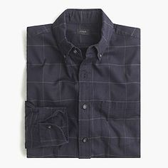 Brushed twill shirt in black windowpane
