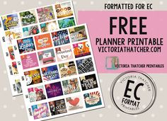 For the monthly layout for Erin Condren. FREE. Victoria Thatcher.