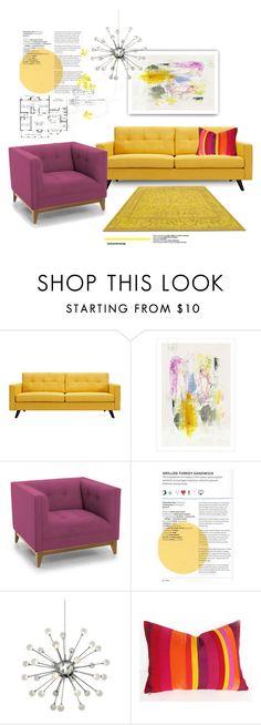 """Purple & Yellow"" by youaresofashion on Polyvore featuring interior, interiors, interior design, home, home decor, interior decorating, Dot & Bo, Joybird Furniture and Fredrick Ramond"