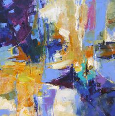"""LARGE ABSTRACT PAINTING """"Presence"""" Modern Expressionistic Acrylic on  40"""" x 40"""" canvas by Contemporary Artist Elizabeth Chapman"""