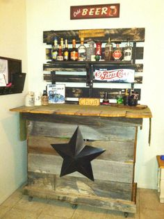 I change a little my bar setting..I just want to share ,same pallet shelf we just add the bar that hubby build from an old wooden fence ..