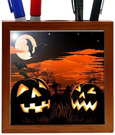 Rikki Knight 5Inch Halloween Pumpkins Glow Design Wooden Tile Pen Holder RKPH1499 >>> Continue to the product at the image link.