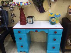 Desk makeover aqua red white