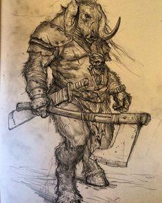 Beastman by Karl Kopinski Art And Illustration, Fantasy Artwork, Karl Kopinski, Art Sketches, Art Drawings, Character Art, Character Design, Monochromatic Art, Expressive Art