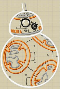 BB-8 BB8 Droid  The Force Awakens  Embroidery by MonkeyDoodleDigi