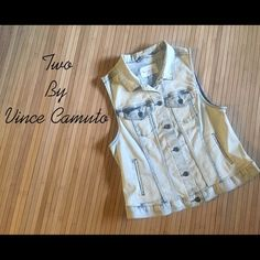 """Two by Vince Camuto denim vest Two by Vince Camuto bleached-out wash denim vest with classic jean-jacket details. 20 1/2"""" length. Front button closure; Button-flap chest pockets; Adjustable side tabs. 79% cotton, 19% polyester, 2% spandex. Two by Vince Camuto Jackets & Coats Vests"""