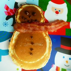#christmas foods - #snowman pancake  Shaina this would be cute for when u have all the kids