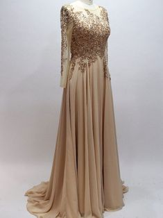A-line Scoop neck Chiffon with Beaded Long | prom dresses