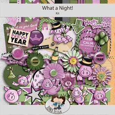 What a Night! is a New Years kit with lots of fun animal elements. Enjoy the green and purple elements of pigs and stars. Happy Year, Green And Purple, Pigs, Digital Scrapbooking, Animal, Stars, Shop, Fun, Color