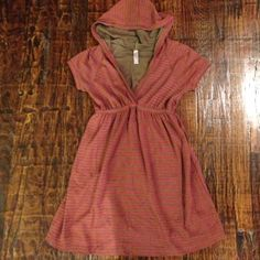 Cute dress with hood! Olive green and maroon striped dress. Could be used as a cover-up. Ophelia Dresses
