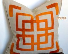 Greek Key Fretwork Ivory Linen with Black Pillow by thfabricate