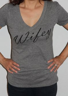 Wifey Womens V-Neck, Bridal Shower Gift, Wedding, Bride Shirt, Bachlorette Gift, Mrs. Bride To Be Classy Fitted Sirt