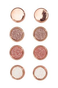 4 pairs Round Earrings | Rose gold-colored | WOMEN | H&M US