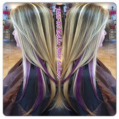 Blonde with purple peekaboos