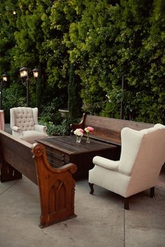 lounge area using church pews & wingbacks ~ Found Vintage Rentals - Home