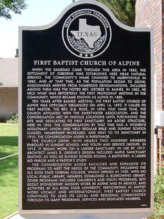 First Baptist Church Marker (Alpine, Texas)