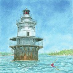 Goose Rocks Light at High Tide Painting  - Goose Rocks Light at High Tide Fine Art Print