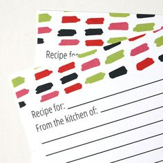 Scribble Recipe Cards by christinawilliams on Etsy