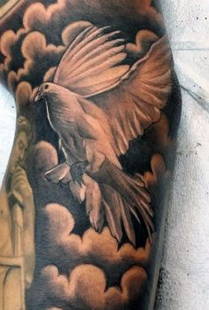 Male Cloud Shading Tattoo With Dove In Black Ink Cloud Tattoo Sleeve, Bird Tattoo Sleeves, Tatto Sleeve, Sleeve Tattoos For Women, Tattoo Sleeve Designs, Chest Tattoo, Tattoo Designs Men, Tattoos For Guys, Random Tattoos
