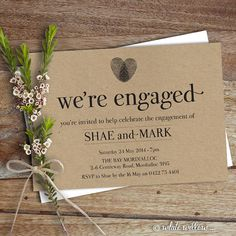 I like the idea of maybe some dried herbs in the invitation and the type of paper here. Engagement Party Invitation Engagement Party by WhiteWillowPaper, $20.00