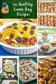 35 Healthy Game Day Recipes - game day dips, appetizers, small bites and main dishes for your tailgate or Big Game celebration. Party Food Dishes, Party Snacks, Healthy Meals For Kids, Kids Meals, Healthy Recipes, Game Day Food, Big Game, Kid Friendly Meals, Food Hacks