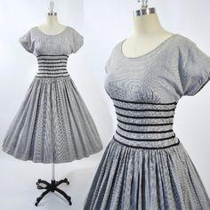 Vintage 1950s Black White GINGHAM Stripe Checks by GeronimoVintage, $135.00