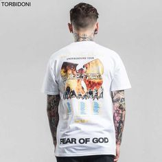 TORBIDONI 2017 Mens Prined T shirt New Fashion Brand Clothing Fear Of God T-shirt Male Cotton Comfortable Top Quality Soft Tees