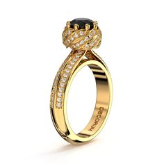 Decorum 14K Yellow Gold 1.0 Ct Black Diamond by DecorumRings