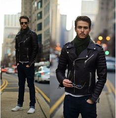 Mens biker leather jacket, Mens fashion black motorcycle jacket, Mens jackets sold by Rangoli Collection. Shop more products from Rangoli Collection on Storenvy, the home of independent small businesses all over the world. Black Casual Outfits, Oufits Casual, Style Casual, Style Men, Winter Outfits, Style Brut, Style Noir, Rugged Style, Mode Masculine