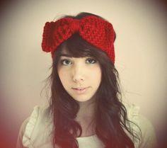 #red #headband #winter #bow