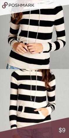 Brand new! With tags black and white sweater Active basic STRIPE LONG SLEEVE HOODIE SWEATER W/ KANGAROO POCKET  *Soft and comfortably fitted. This stripe hoodie can easily be your everyday wardrobe stable. active basic Sweaters Cardigans